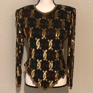 Vintage Laurence Kazar Beaded Shirt, Size PM